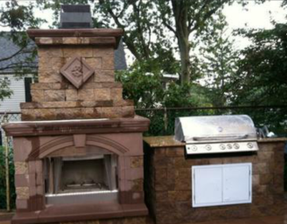 grill and fire place made of cultured stone