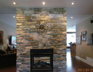 decorative culture stone installed fireplace