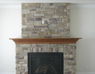 cultured stone fireplace designed and installed