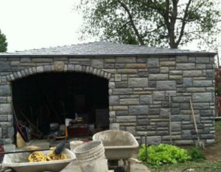 cultured stone garage installation
