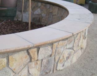decorative residential round mini wall with flag stone