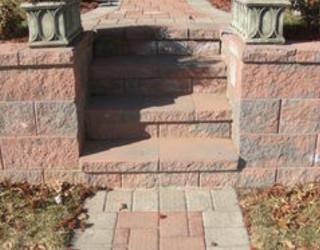 brick walkway with stairway