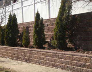 stone wall installed with garden