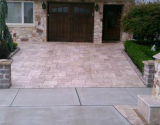 decorative stone walkway and driveway installed by pavers