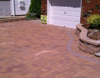 residential red brick and stone driveway