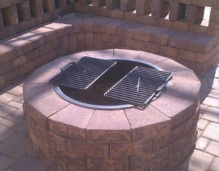red fire pit made by decorative bricks
