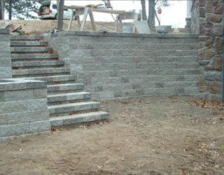 stone walls and stairs installation