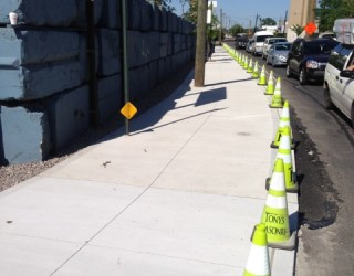 new commercial sidewalk installed by pavers