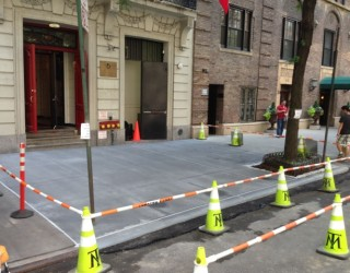 city commercial sidewalk installed