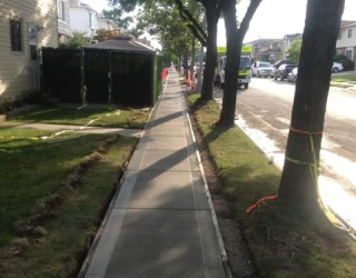 sidewalk on whole residential block newly paved