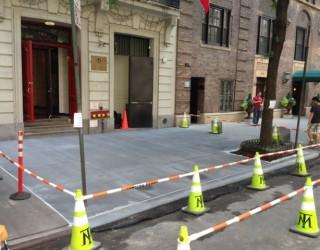 city sidewalk newly paved