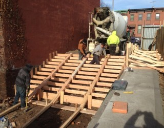 structure being placed for stairway