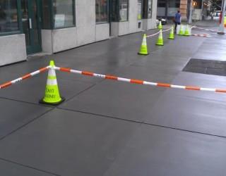 freshly paved concrete sidewalk