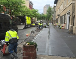 sidewalk and driveway being repaired
