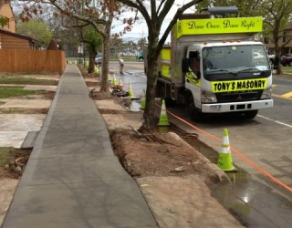 new sidewalk installed on whole block