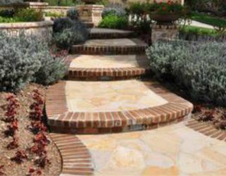 brick and flag stone decorative stairway